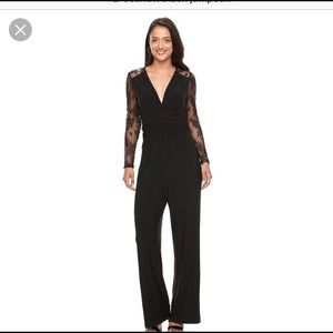Scarlett black jumpsuit w/ lace arms and back